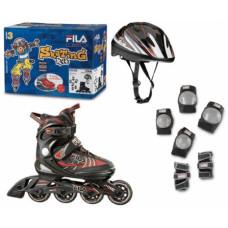 Набор детских раздвижных роликовых коньков FILA J-ONE COMBO 3 SET черный/красный