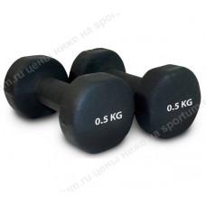 Гантель неопреновая HKDB118-B 0,5 кг Black