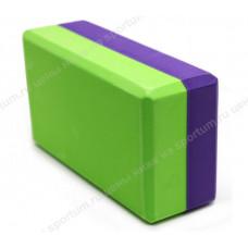 Йога блок B26353 полумягкий 2-х цветный Violet/Green