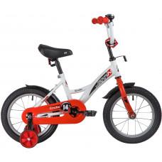 """Велосипед NOVATRACK 14"""" STRIKE белый-красный, тормоз нож, крылья корот, полная защ.цепи"""