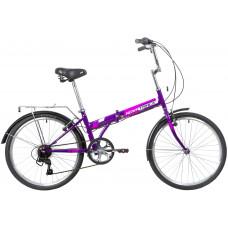 """Велосипед NOVATRACK 24"""" складной, фиолет., TG, 6скор. Shimano TY-21, тормоз V-brake.,сидение комфорт"""
