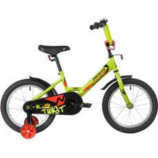 """Велосипед NOVATRACK 16"""" TWIST зеленый, тормоз нож, крылья корот, полная защ.цепи"""