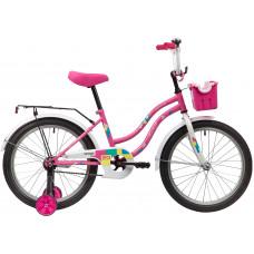 """Велосипед NOVATRACK 20"""" TETRIS розовый, тормоз нож, крылья цвет, багажник, корзина, защита А-тип"""