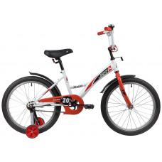 "Велосипед NOVATRACK 20"" STRIKE белый-красный, тормоз нож, крылья корот, защита А-тип"