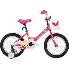 "Велосипед NOVATRACK 20"" TWIST розовый, тормоз нож, крылья корот, корзина, защита А-тип"