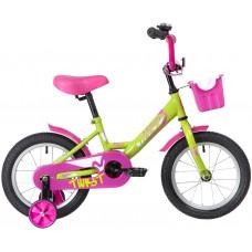 "Велосипед NOVATRACK 14"" TWIST зеленый, тормоз нож, крылья корот, полная защ.цепи, корзина"