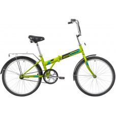 """Велосипед NOVATRACK 24"""" складной,зеленый, тормоз V-Brake задний ножной, багажник, крылья"""
