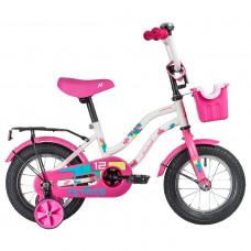 """Велосипед NOVATRACK 12"""" TETRIS белый,тормоз нож.,крылья цвет.,багажник чёрный., перед.корзина, полна"""