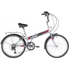 """Велосипед NOVATRACK 24"""" складной, серый, TG, 6скор. Shimano TY-21, тормоз V-brake.,сидение комфорт,"""