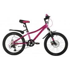 "Велосипед NOVATRACK 20"" KATRINA, алюм.рама, розовый металик, 6-скор, TY21/TS38, диск.тор.STG"