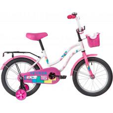"""Велосипед NOVATRACK 16"""" TETRIS белый, тормоз нож, крылья цвет, багажник, корзина, полная защ.цепи"""