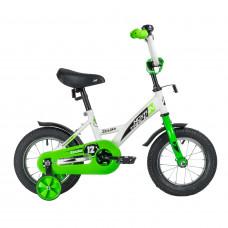"""Велосипед NOVATRACK 12"""" STRIKE белый-зелёный, тормоз нож., корот.крылья, полная защита цепи"""