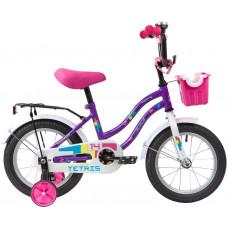 """Велосипед NOVATRACK 14"""" TETRIS фиолетовый, тормоз нож, крылья цвет, багажник, корзина, полная защ.це"""