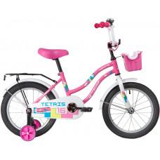 """Велосипед NOVATRACK 16"""" TETRIS розовый, тормоз нож, крылья цвет, багажник, корзина, полная защ.цепи"""