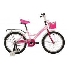 """Велосипед FOXX 20"""" BRIEF розовый, сталь, тормоз нож, крылья, багажник, перед.корзина"""