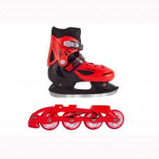 Коньки трансформеры детские раздвижные BlackAqua 2в1 (коньки+ролики) AS-406 красный