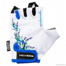 Перчатки велосипедные детские Vinca VG 938 lavender гелевые вставки, белые
