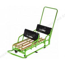 Санки-трансформер для двойни с колесиками и толкателем Small Rider Snow Twins 2 Green