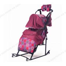 Санки-коляска Kristy Comfort Plus 3B + BK Bordo