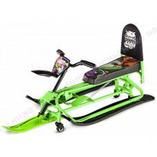 Снегокат-трансформер с колесиками и спинкой Small Rider Snow Comet 2 Green